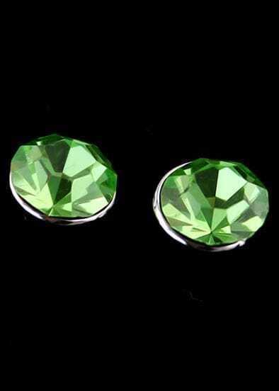 Green Diamond Silver Stud Earrings