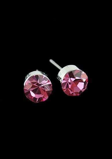 Red Diamond Silver Stud Earrings