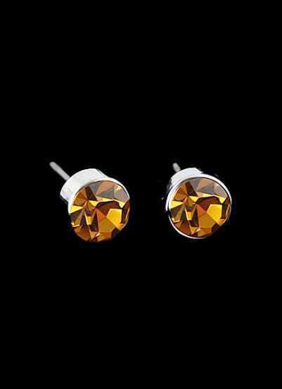 Yellow Diamond Silver Stud Earrings