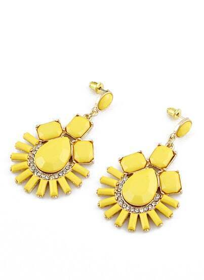 Yellow Gemstone Gold Diamond Earrings