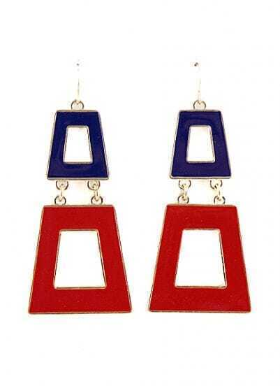 Blue Red Glaze Gold Geometric Dangle Earrings