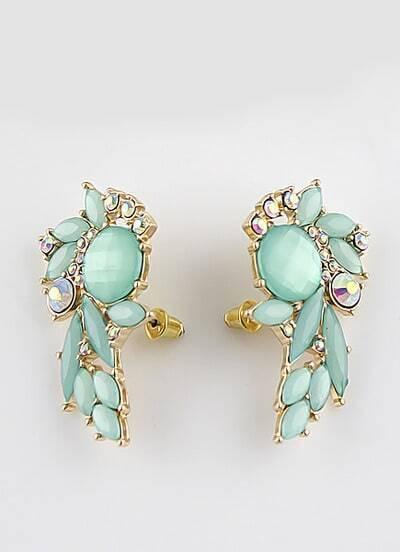Green Gemstone Gold Stud Earrings