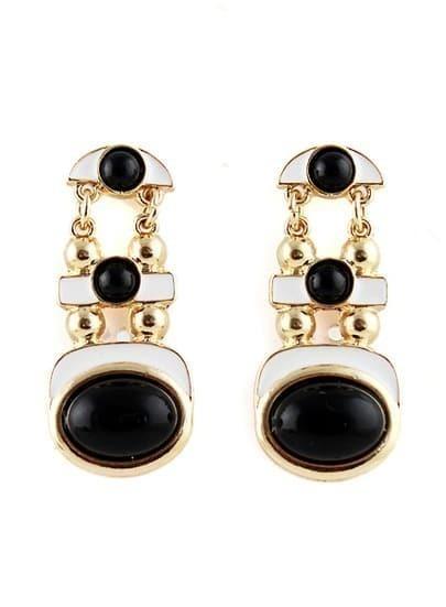 Black White Glaze Gold Fashion Earrings