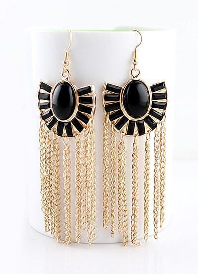 Black Gemstone Gold Chain Tassel Dangle Earrings