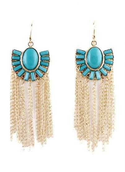Blue Gemstone Gold Chain Tassel Dangle Earrings