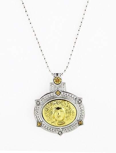 Gold Portrait Silver Bead Necklace