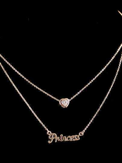 Gold Diamond Letters Heart Necklace