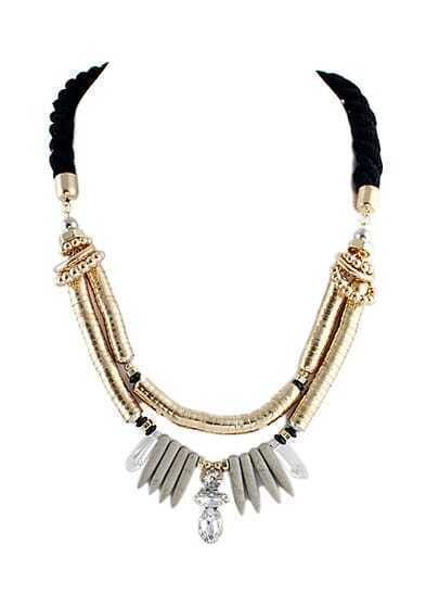 Gold Bead Diamond Tassel Necklace