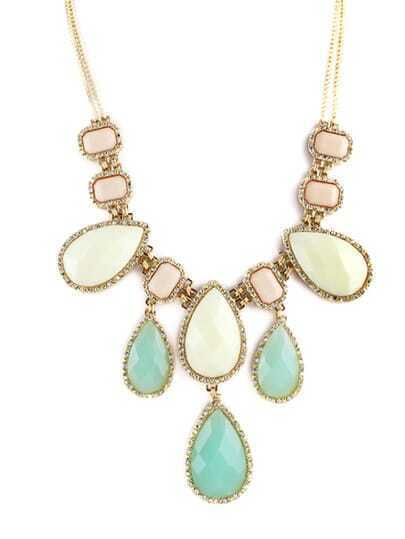White Green Gemstone Drop Diamond Necklace