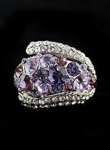 Purple White Diamond Silver Ring