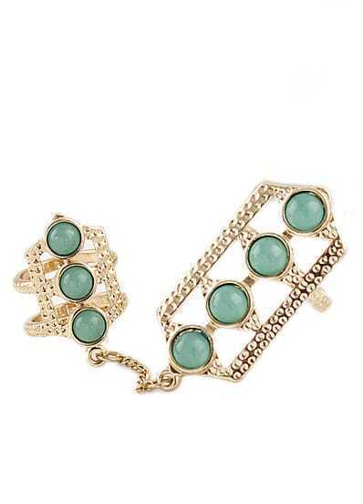 Green Gemstone Gold Hollow Two Fingers Ring
