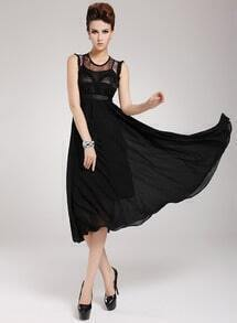 Black Contrast Lace Sleeveless Chiffon Two Pieces Dress
