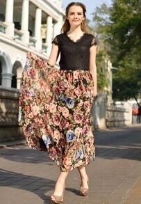 Black V Neck Lace Short Sleeve Floral Pleated Dress