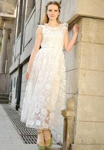 White Sleeveless Lace Sheer Mesh Yoke Dress