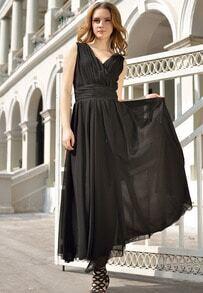 Black V Neck Sleeveless Slim Pleated Chiffon Dress