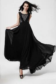 Black Sleeveless Contrast Lace Chiffon Pleated Dress
