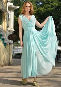 Turquoise V Neck Sleeveless Slim Pleated Chiffon Dress