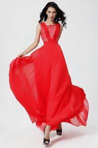 Red Sleeveless Contrast Lace Chiffon Pleated Dress