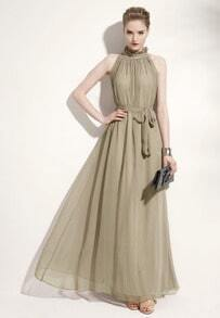 Champagne Stand Collar Pleated Chiffon Dress