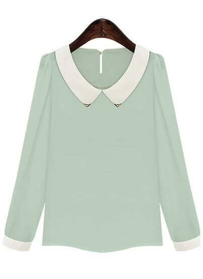 Green Contrast Lapel Long Sleeve Chiffon Blouse