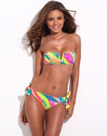 Bright Colored Palm Pattern Bandeau Bikini Set