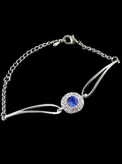 Blue Diamond Gold Chain Bracelet