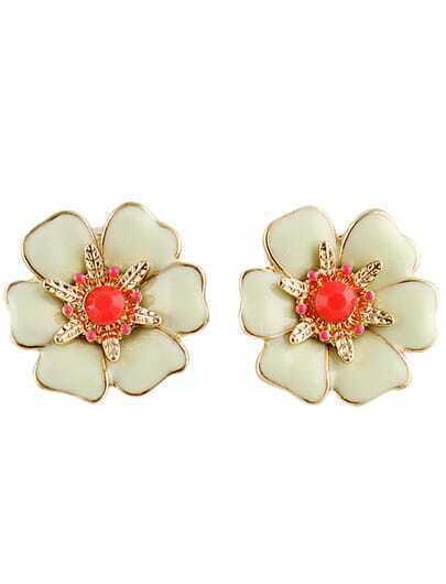 White Glaze Gold Gemstone Flower Earrings