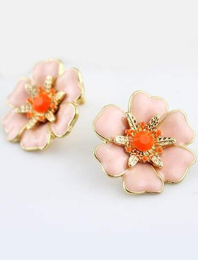 Pink Glaze Gold Gemstone Flower Earrings