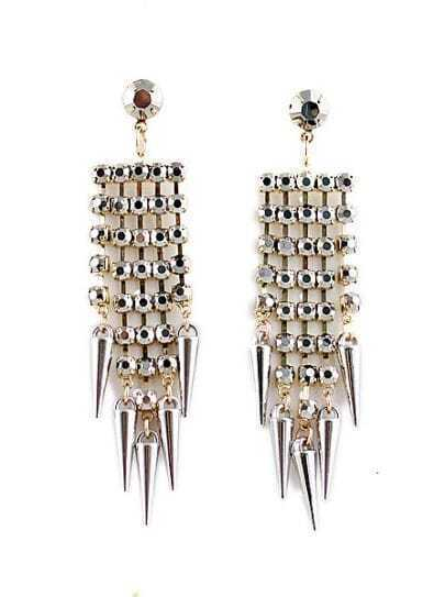 Gold Bead Rivet Tassel Earrings