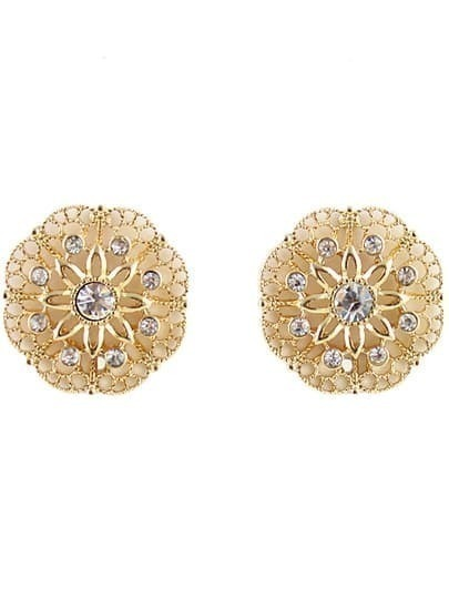 Gold Diamond Hollow Flower Earrings