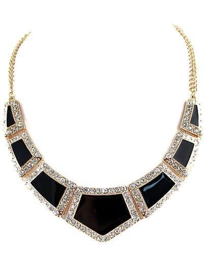Black Glaze Gold Diamond Collar Necklace