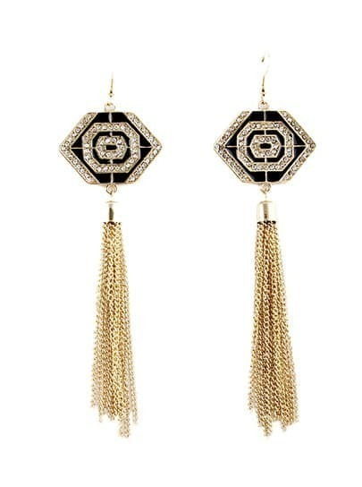 Gold Diamond Geometric Chain Tassel Earrings