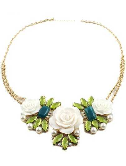 Green Gemstone White Flowers Chain Necklace