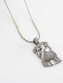 Silver Diamond Mask Bead Necklace