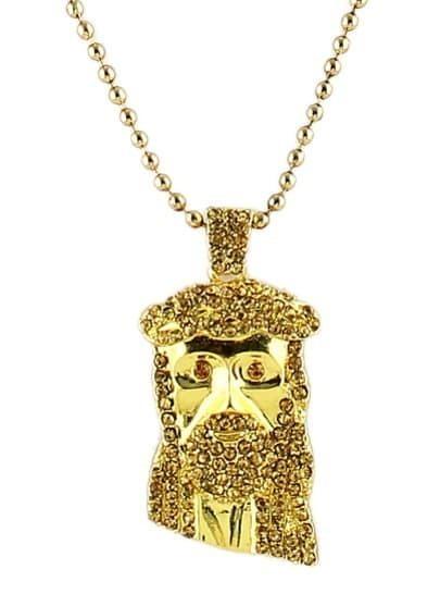 Gold Diamond Mask Bead Necklace