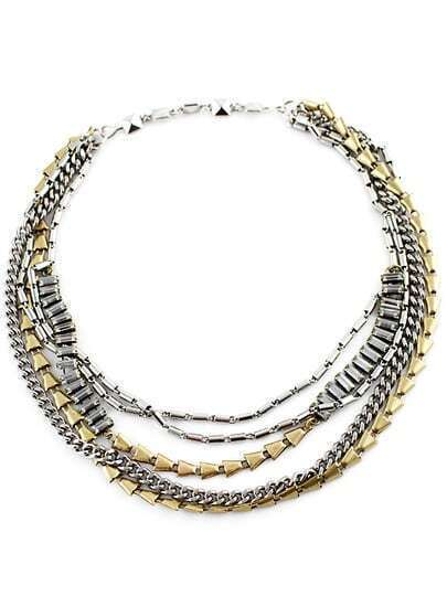 Gold Silver Multilayers Chain Necklace