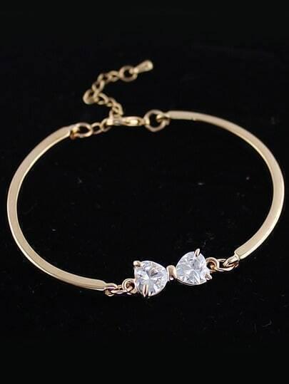 White Diamond Gold Bow Bracelet