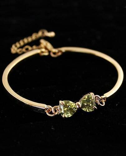Green Diamond Gold Bow Bracelet