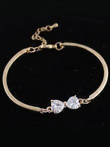 White Diamond Gold Bow Bracelet
