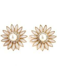 Gold Diamond Pearl Flower Earrings