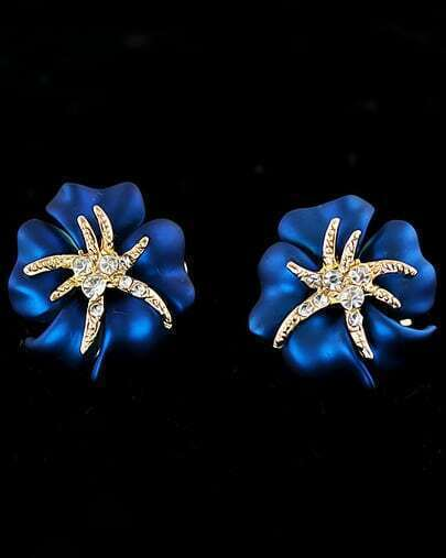 White Diamond Blue Flower Stud Earrings