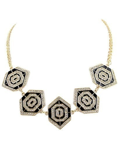 Gold Diamond Geometric Chain Necklace