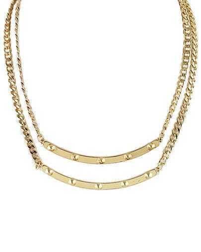 Gold Rivet Chain Necklace