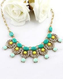 Green Gemstone Gold Diamond Hollow Necklace