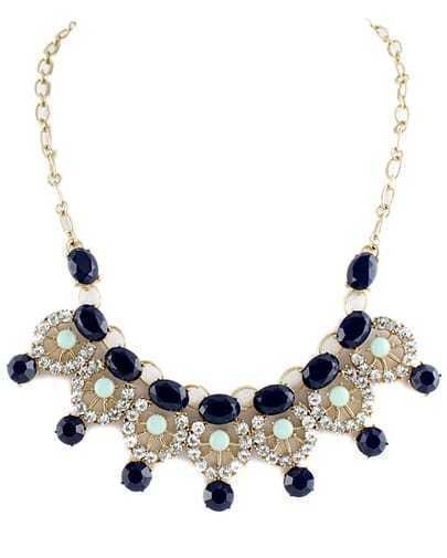 Blue Gemstone Gold Diamond Hollow Necklace
