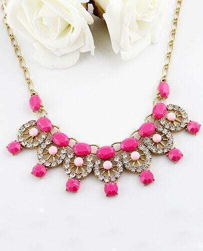 Red Gemstone Gold Diamond Hollow Necklace