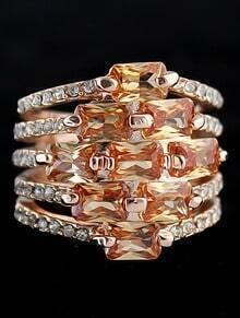 Yellow Gemstone Gold Multilayers Ring