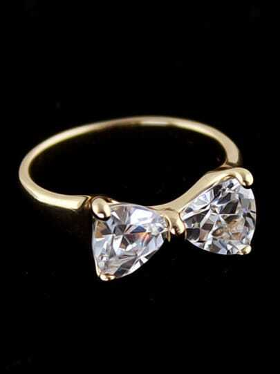 Gold Diamond Bow Ring