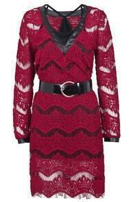 Red V Neck Long Sleeve Hollow Lace Dress