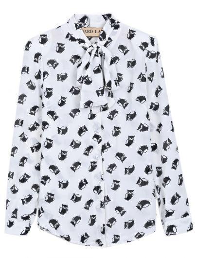 White Long Sleeve Owl Print Bow Chiffon Blouse